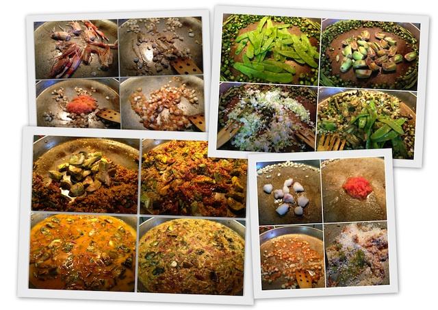 Arroz seco en paella con sepias, gambas y verduritas