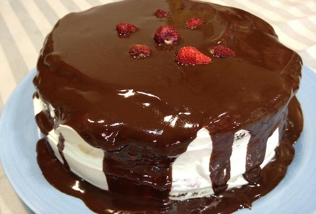 Tarta de chocolate, nata y fresas silvestres