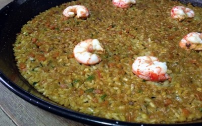 Rice paella with red prawns and vegetables. The winning paella