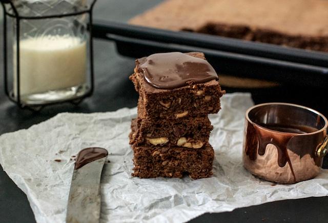 Brownie de chocolate. El auténtico americano