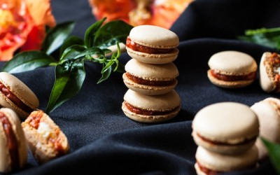 Macarons with sobrasada & goat cheese