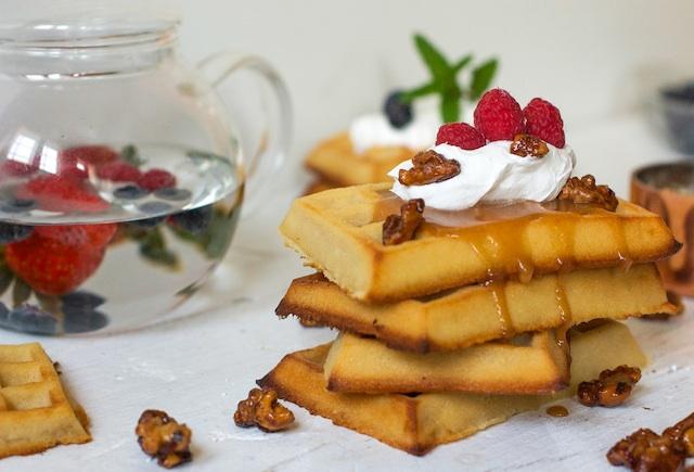 C196 loleta Gofres de tarta de queso con salsa de caramelo 11 IMAGEN P