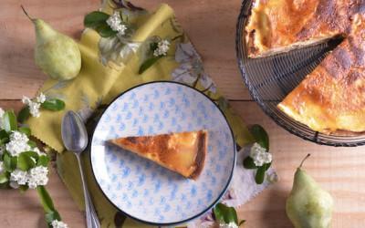 Tarta de peras y vainilla