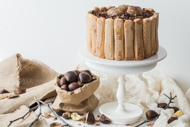 Charlota de castañas. Chocolate y marron glase ¡qué combinación!