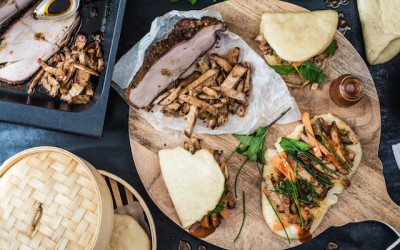 Bao buns with Creole pork and BBQ sauce
