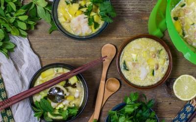 Curry verde de pescado y verduras