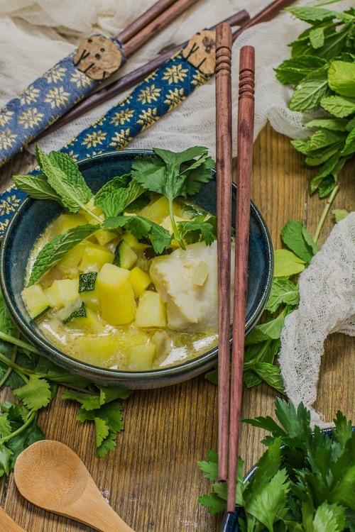Curry verde de pescado y verduras-5