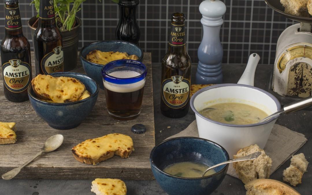 Sopa gratinada de puerros con cerveza