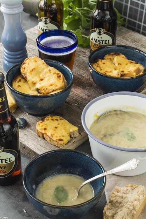 Sopa gratinada de puerros con cerveza 9