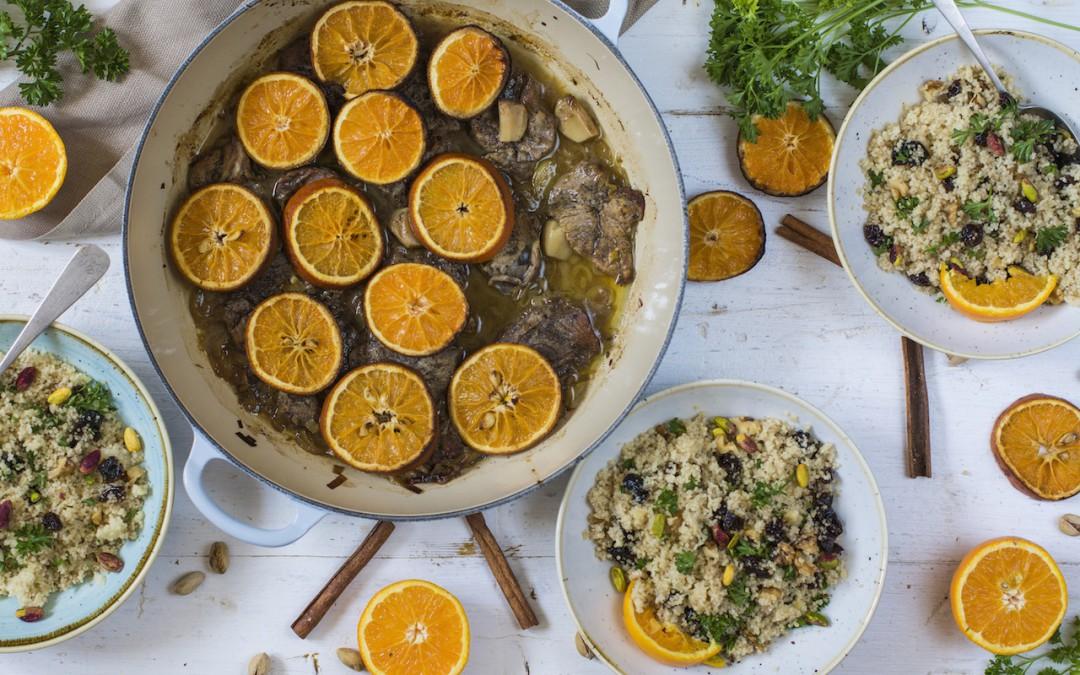 Filetes de pierna de cordero con miel y taboulé de frutos secos