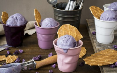 Violet ice cream. Taste of flowers