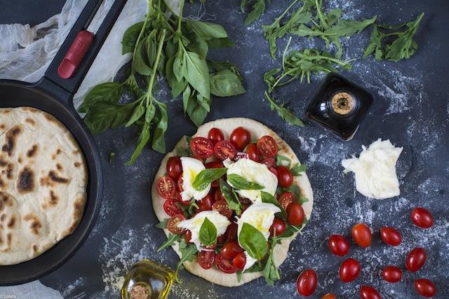 Pizza in pan. Caprese my way 2