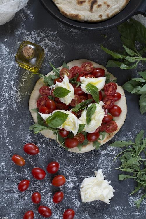 Pizza in pan. Caprese my way 3