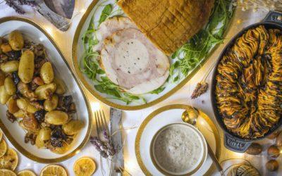 Capón relleno con gratín de batatas, y salteado de frutos secos