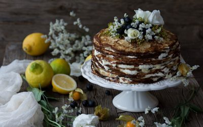 Easy pancakes with poppy seed cake filled with lemon homemade curd and mascarpone