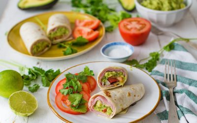 Recipe for summer with ham and guacamole burritos