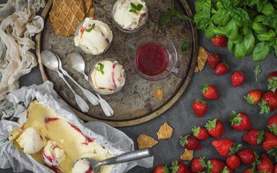 With Basil and Strawberry mascarpone ice cream