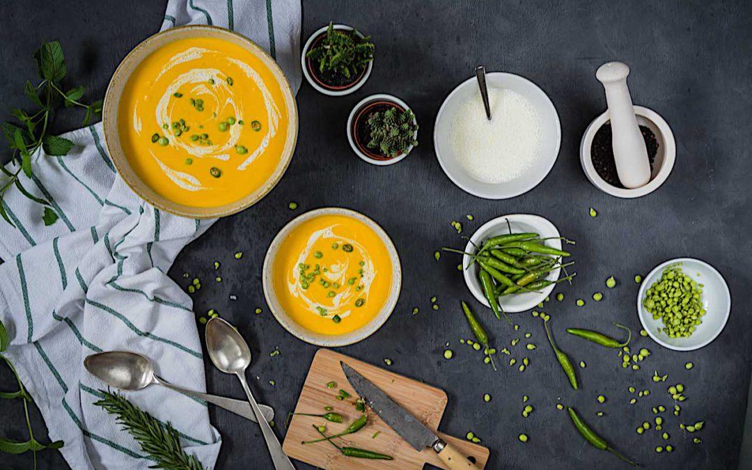 Crema de batatas y zanahorias asadas al romero