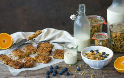 Orange and coconut Homemade Granola and granola bars for children
