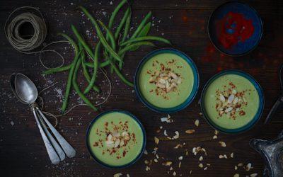 Crema húngara de judías verdes con siracha. Una crema de verduras diferente