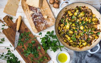 Receta fácil de coles de Bruselas con setas Shitake y Parmesano