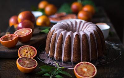 Bundt cake de naranjas sanguinas. Bizcocho glaseado