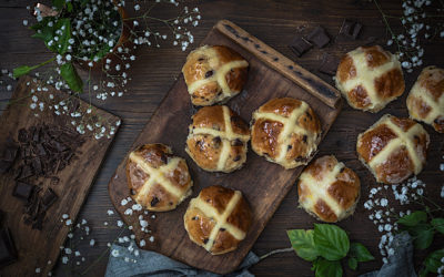 Hot cross buns. The typical Easter buns of Great Britain
