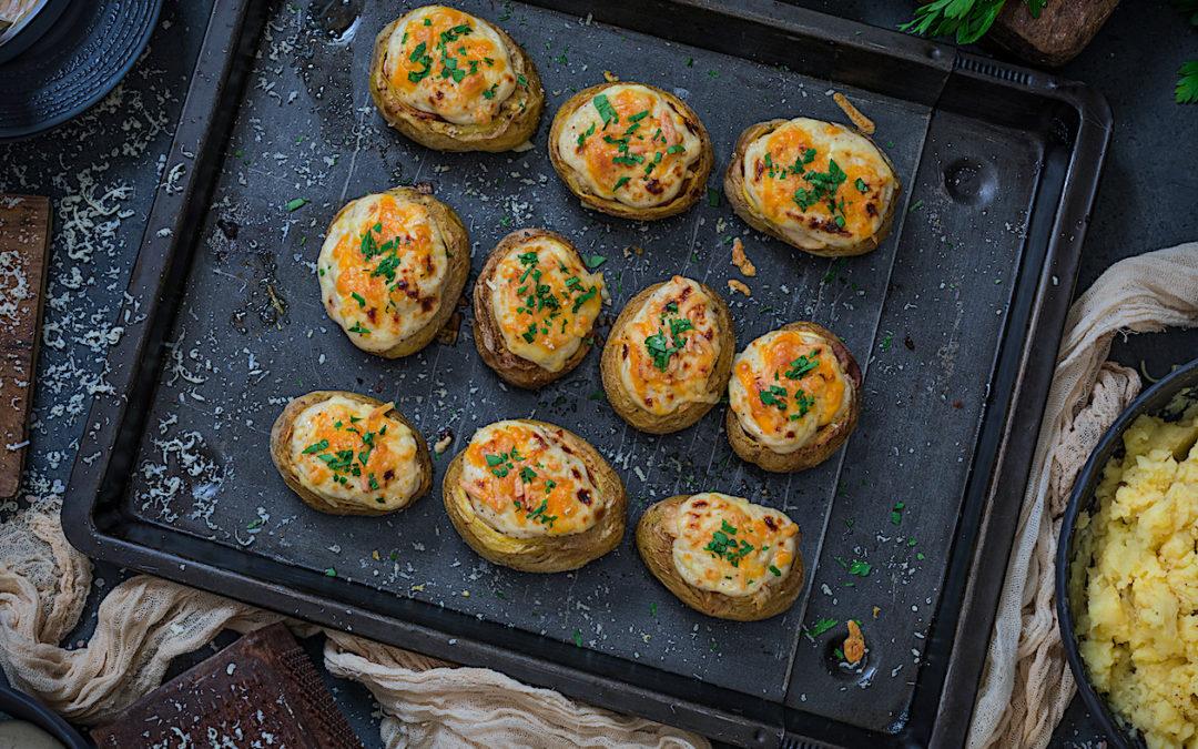 Patatas rellenas de gambas con ventresca de atún