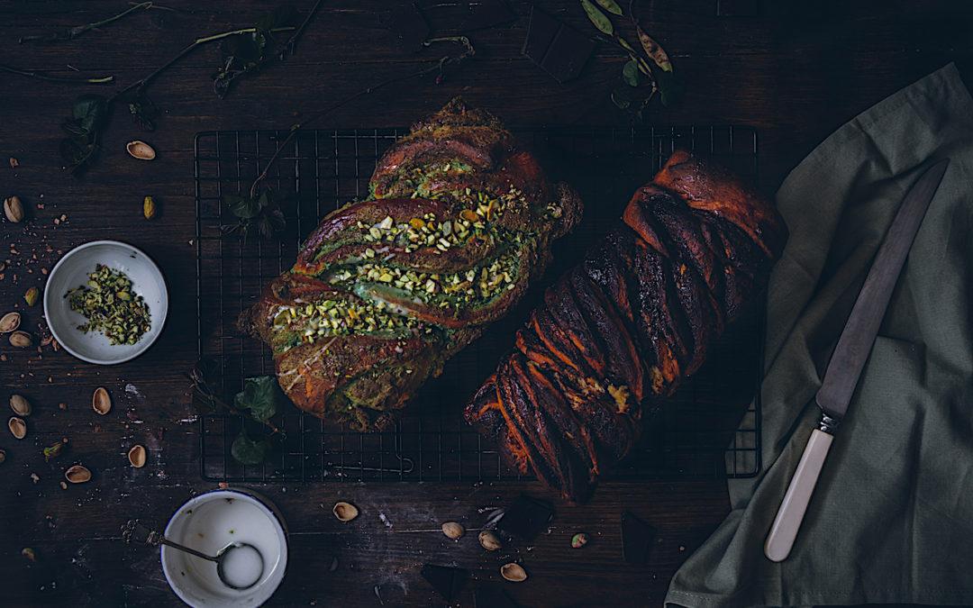 Babka de pistacho y babka de chocolate. Receta fácil del brioche más delicioso del mundo