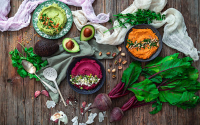 Hummus trio: beetroot, avocado and roasted pepper