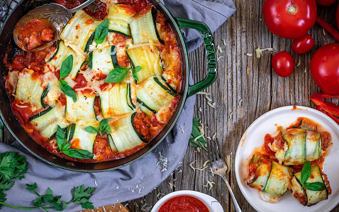 Canelones de calabacín con queso y carne