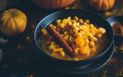 Garbanzos con calabaza y curry casero. Un potaje perfecto para el frío