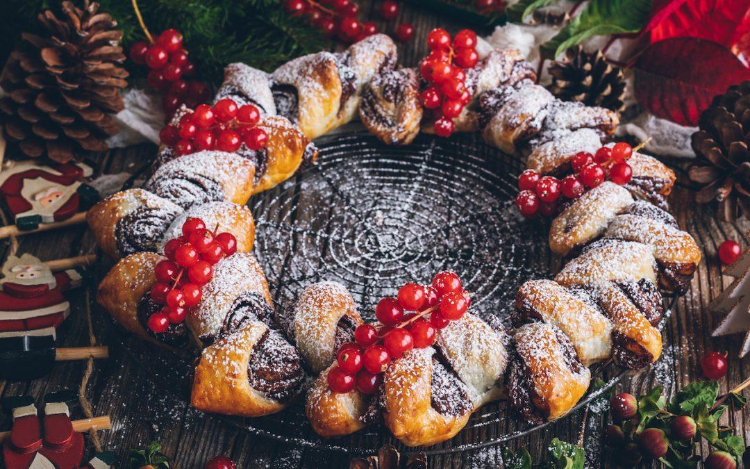 Corona de turrón y chocolate. Navidad, dulce Navidad para todos