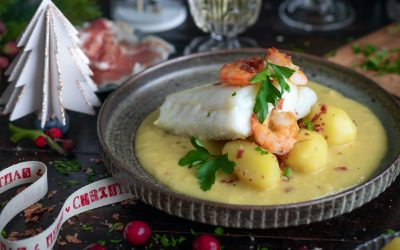 Cod with cava velouté. The fish from your holidays