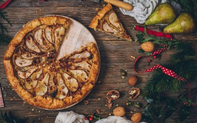 Pear and gorgonzola cheese galette with walnuts