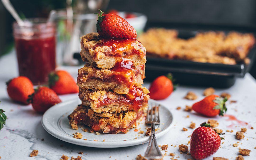 Pastelitos crujientes de fresa y avena