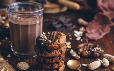 Galletas de mantequilla de cacahuetes y chocolate sin gluten