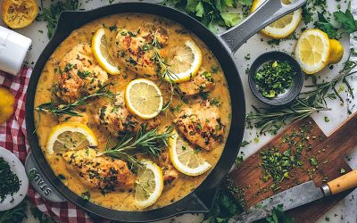 Pollo al limón fricasé. Receta fácil de pollo marinado al limón