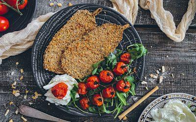 Berenjenas al horno con crujiente de quinoa